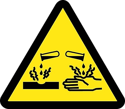 Label, Graphic For Corrosive / Acid Hazard, 2In Dia, Adhesive Vinyl