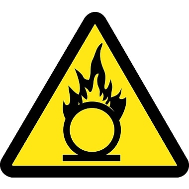 Label, Graphic For Oxidizing Materials Hazard, 2In Dia, Adhesive Vinyl