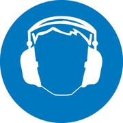 Label, Graphic For Hearing Protection, 4In Dia, Adhesive Vinyl