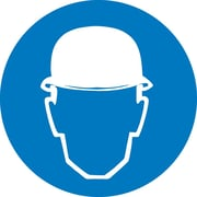 Label, Graphic For Wear Head Protection, 4In Dia, Adhesive Vinyl