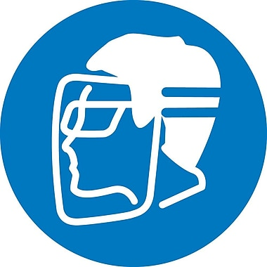 Label, Graphic For Wear Face Shield & Eye Protection, 4In Dia, Adhesive Vinyl