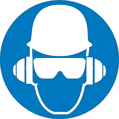 Label, Graphic For Wear Head, Hearing And Eye Protection, 4In Dia, Adhesive Vinyl