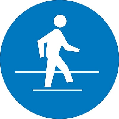 Label, Graphic For Use Pedestrian Route, 4In Dia, Adhesive Vinyl