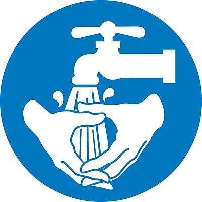 Label, Graphic For Wash Hands, 4In Dia, Adhesive Vinyl