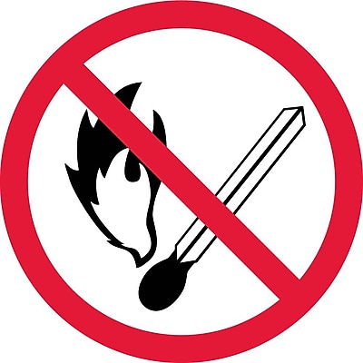 Label, Graphic For No Fire Or Open Flame, 4In Dia, Adhesive Vinyl