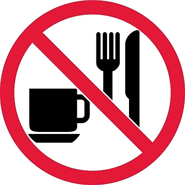 Label, Graphic For No Eating Or Drinking, 4In Dia, Adhesive Vinyl