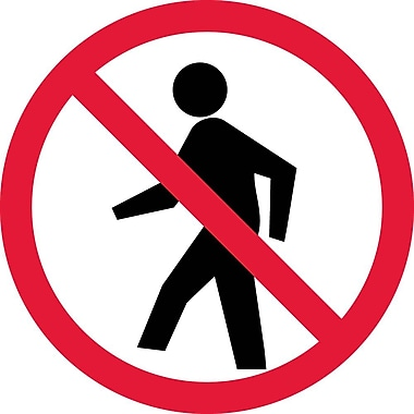 Label, Graphic For No Pedestrians, 4In Dia, Adhesive Vinyl
