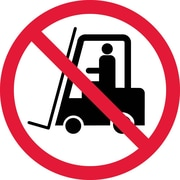 Label, Graphic For No Industrial Trucks, 4In Dia, Adhesive Vinyl