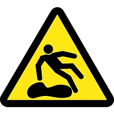 Label, Graphic For Slippery Surface Hazard, 4In Dia, Adhesive Vinyl