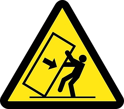 Label, Graphic For Tipping Hazard, 4In Dia, Adhesive Vinyl