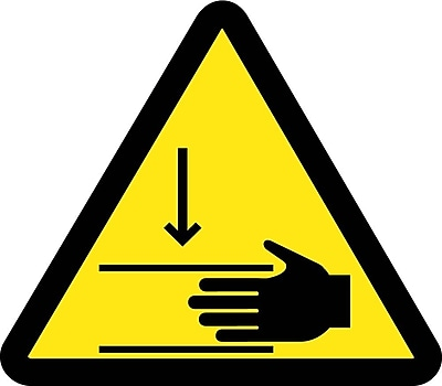 Label, Graphic For Crush Hazard, 4In Dia, Adhesive Vinyl