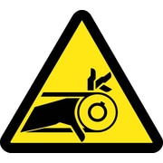 Label, Graphic For Belt Drive Entanglement Hazard, 4In Dia, Adhesive Vinyl