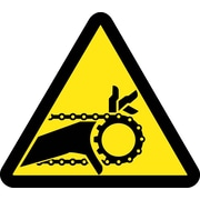 Label, Graphic For Chain Drive Entanglement Hazard, 4In Dia, Adhesive Vinyl