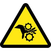 Label, Graphic For Gear Entanglement Hazard, 4In Dia, Adhesive Vinyl