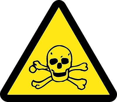 Label, Graphic For Toxic Hazard, 4In Dia, Adhesive Vinyl