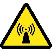 Label, Graphic For Electro Magnetic Hazard, 4In Dia, Adhesive Vinyl