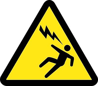 Label, Graphic For Voltage Discharge Hazard, 4In Dia, Adhesive Vinyl