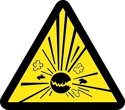 Label, Graphic For Explosives Hazard, 4In Dia, Adhesive Vinyl