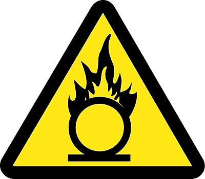 Label, Graphic For Oxidizing Materials Hazard, 4In Dia, Adhesive Vinyl