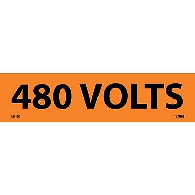 Voltage Marker, Adhesive Vinyl, 480 Volts, 2-1/4