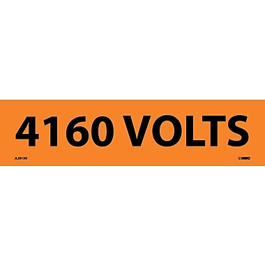 Voltage Marker, Adhesive Vinyl, 4160 Volts, 2-1/4