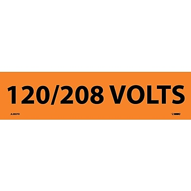 Electrical Markers, 120/208 Volts, 2.25X9, Adhesive Vinyl, 25/Pk