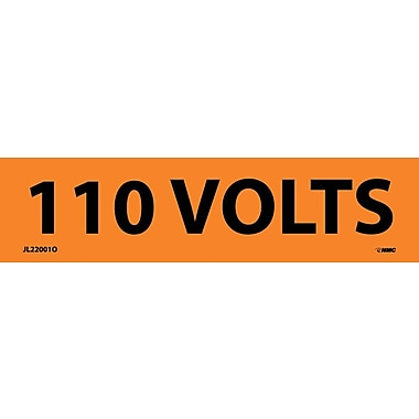 Voltage Marker, Adhesive Vinyl, 110 Volts, 1-1/8