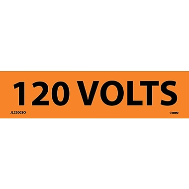Voltage Marker, Adhesive Vinyl, 120 Volts, 1-1/8