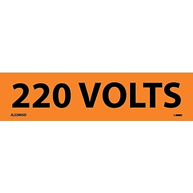 Voltage Marker, Adhesive Vinyl, 220 Volts, 1-1/8