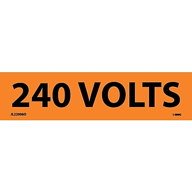 Voltage Marker, Adhesive Vinyl, 240 Volts, 1 1/8X4 1/2