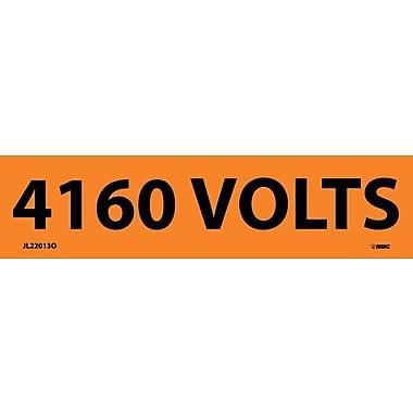 Voltage Marker, Adhesive Vinyl, 4160 Volts, 1 1/8X4 1/2