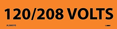 Electrical Markers, 120/208 Volts, 1.125X4.5, Adhesive Vinyl, 25/Pk