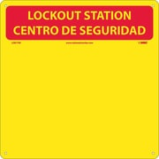 Lockout Center, Bilingual, Red/Yellow, Backboard With Hooks, 14X14