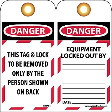 Lockout Tags, Lockout, Danger This Tag & Lock To Be Removed Only, 10/Pack