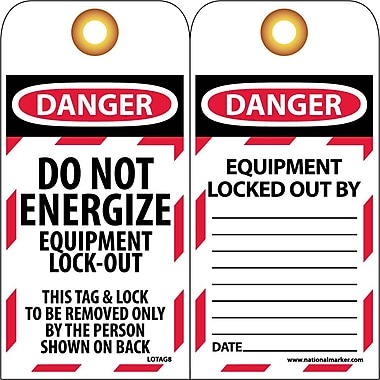 Lockout Tags, Lockout, Do Not Energize Equipment Lock Out, 6