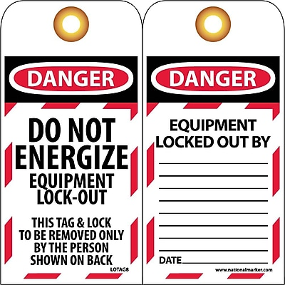 Lockout Lockout Tags, Lockout, Do Not Energize Equipment Lock Out, 6X3, Unrippable Vinyl, 25/Pk