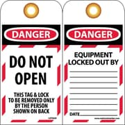 Lockout Lockout Tags, Lockout, Do Not Open, 6X3, Unrippable Vinyl, 25/Pk
