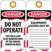 Lockout Lockout Tags, Lockout, Do Not Operate, 6X3, Unrippable Vinyl, 25/Pk
