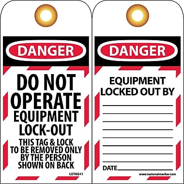 Lockout Tags, Lockout, Do Not Operate Equipment Locked Out, 6