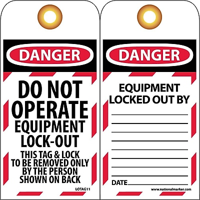 Lockout Lockout Tags, Lockout, Do Not Operate Equipment Locked Out, 6X3, Unrippable Vinyl, 25/Pk