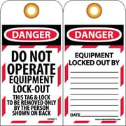 Lockout Tags, Lockout, Danger Do Not Operate Equipment Lock-Out, 10/Pack