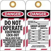 Lockout Lockout Tags, Lockout, Danger Do Not Operate Equipment Lock-Out. . ., 6X3, Unrippable Vinyl