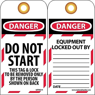 Lockout Lockout Tags, Lockout, Do Not Start, 6X3, Unrippable Vinyl, 25/Pk