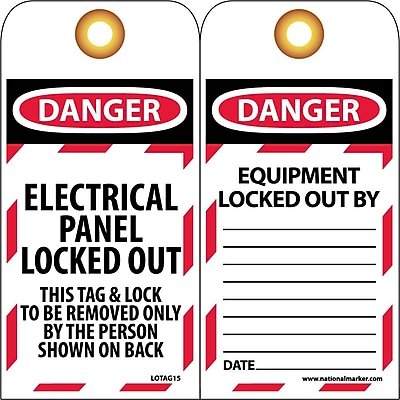 Lockout Lockout Tags, Lockout, Danger Electrical Panel Locked Out. . ., 6X3, Unrippable Vinyl