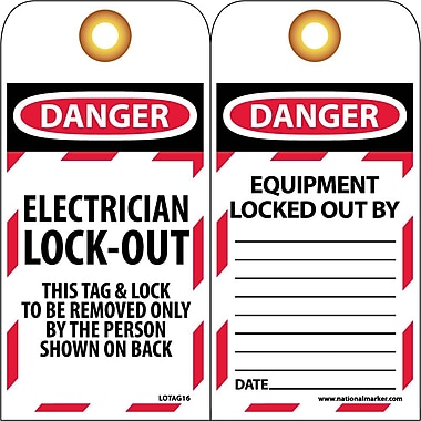 Lockout Lockout Tags, Lockout, Danger Electrician Lock-Out. . ., 6X3, Unrippable Vinyl