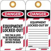 Lockout Lockout Tags, Lockout, Equipment Locked Out, 6X3, Unrippable Vinyl, 25/Pk