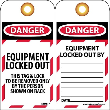 Lockout Tags, Lockout, Danger Equipment Locked Out..., 6