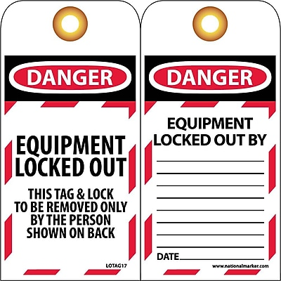 Lockout Lockout Tags, Lockout, Danger Equipment Locked Out. . ., 6X3, Unrippable Vinyl