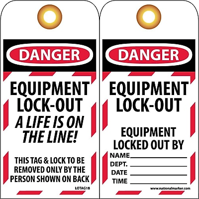 Lockout Lockout Tags, Lockout, Equipment Lock-Out A Life Is On The Line, 6X3, Unrippable Vinyl, 25/Pk