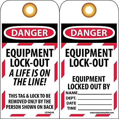 Lockout Lockout Tags, Lockout, Danger Equipment Lock Out. . ., 6X3, Unrippable Vinyl